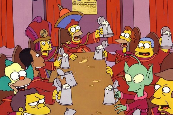 Stonecutters drinking scene from The Simpsons